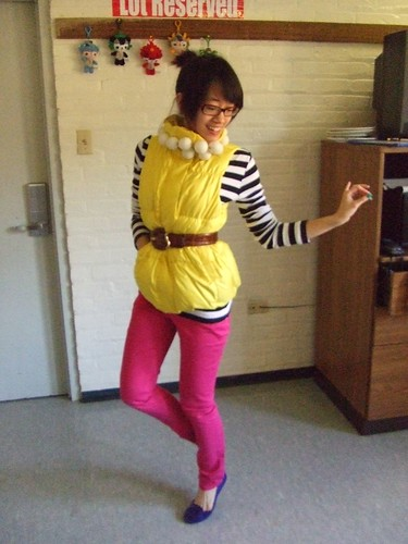 Bright yellow puffy vest, Gap; Black/White striped LS shirt, Gap; Hot pink skinny pants, H&M; Blue flats, Nine West; Ping-Pong Ball necklace, DIY; Brown belt, Roberto Dalpra