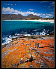 Red Rock (Dylan Toh) Tags: park sea mountains beach nature landscape bay aqua australia national tasmania lichen wineglass waterscape freycinet everlook everlookphotography