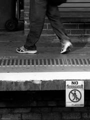 No Throughfare (Visual Clarity Photography) Tags: sign canon chalk shoes granville seat sydney platform january australia trainstation nsw 2009 lightroom cityrail railwayplatform canong9 canonpowershotg9 nothroughfare g9200901062006dng granvilletrainstation g9200901062006