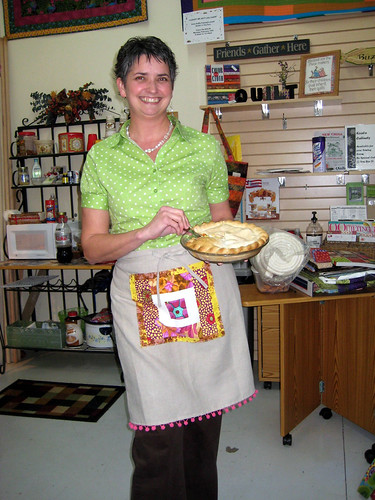 patchwork and linen apron