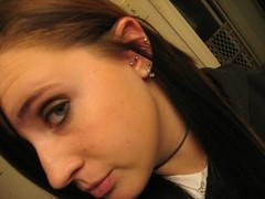 Eh.. my pointy ear. (tARRA NiCOLE) Tags: girl face piercing ear piercings tragus conch earing
