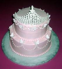 Princess Pearl Tiara Birthday Cake (Signature SugarArt) Tags: pink tiara strawberry princess crown strawberrycake princesscake cartersville pinkcake royalicing butterflycake tiaracake dragonflycustomcakes terrigoodwin