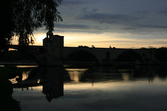 """Sur le pont d'Avignon"" at the evening :) (Jrgenshaus) Tags: sunset summer sun france reflection clouds geotagged twilight frankreich colorful sonnenuntergang cloudy september explore dmmerung brcke avignon spiegelung 2009 palaisdespapes rhone wolkig pontdavignon papstpalast explored"