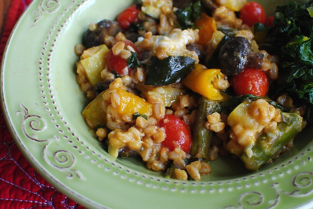 roasted vegetable farro, lunch