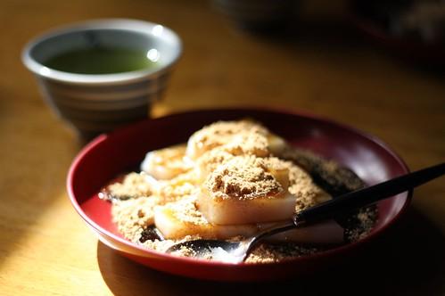 """Kuzu-mochi"" Japanese traditional dessert"