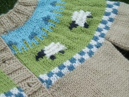Sheep Yoke Baby Cardigan close up