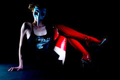 red latex for shy (geaif) Tags: red woman studio mask shy latex
