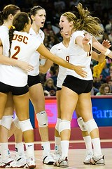Women's Volleyball: USC vs. Stanford (Eric Wolfe) Tags: california usa college sports losangeles unitedstates celebration volleyball cheering winning universities usctrojans original:filename=200710270573jpg