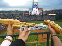 3 feet worth of bratwurst. (nstaeck) Tags: food dinner tour baseball stadium sausage neil roadtrip delicious bratwurst brat posti ballpark mlb gino footlong majorleaguebaseball baseballtrip