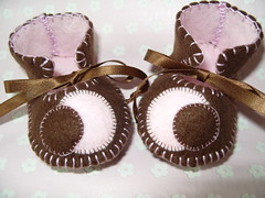 chocolate and pink handmade baby booties with dot motifs-hand-stitched (Funky Shapes) Tags: uk pink b baby shoes handmade chocolate teal felt zapatos kawaii bebe ribbon accessories etsy dots slippers booties bootees wholesale mushrroms accesorios etsybaby
