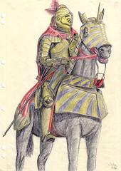 knight 060393 (aje152000) Tags: horse illustration pencil soldier drawing australia medieval fantasy mounted knight armour horseback cavalry colouredpencil manatarms derwents platearmour