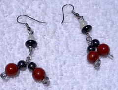 jasper and hematine earrings
