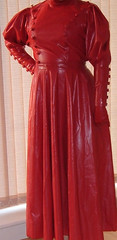 Lady  in red dress (latexladyll) Tags: ds rubber nun bdsm latex hood gag submission burqa enclosure veils