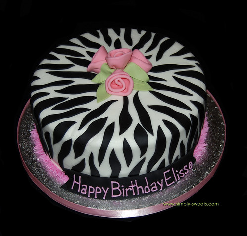 single tier zebra print birthday cake