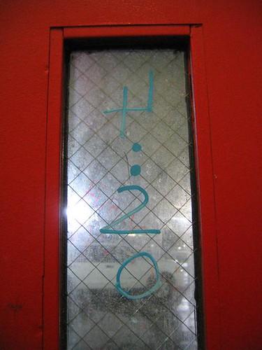 Backwards 4:20 on a fire door