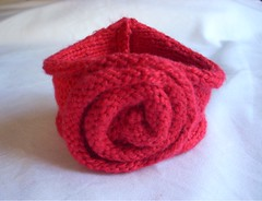Knitted Rose Cotton Cuff (ThisCosyLife) Tags: rose knitting crafts handknit bracelet etsy knitted cuff crafting