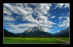 Mountain Zugspitze (2962 meters) (Klaus_GAP™ - taking a timeout) Tags: blue sky panorama lightpainting mountains green clouds landscape bayern bavaria austria österreich path framed meadow wiese himmel wolken berge grün lovepeace blau landschaft hdr hdri weg lichtmalerei eingerahmt zugspitze lermoos artcafe photomatix vob specland the4elements abigfave anawesomeshot photoshopcs3 holidaysvacanzeurlaub ysplix theunforgettablepictures life~asiseeit multimegashot absolutelystunningscapes perfektsky qualitypixels worldglobalaward globalworldawards highestmountainofgermany