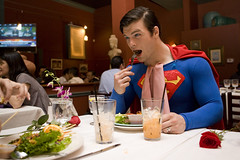 super nom nom nom (Beyonce Knowles it all) Tags: california costumes food rose dinner sandiego superman thai comicbooks comiccon sandiegocomiccon sandiegoconventioncenter