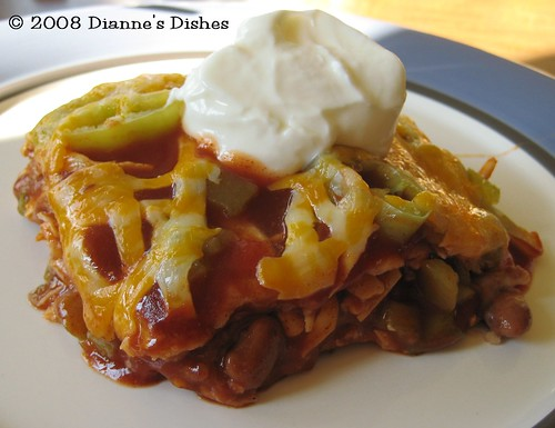 Mexican Lasagna: Topped With Sour Cream