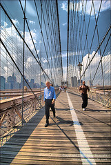 Walkers and Joggers on the Brooklyn Bridge (amycicconi) Tags: city newyorkcity bridge shirtless summer newyork male men bike bicycle businessman skyline brooklyn clouds bench walking bicycling cityscape exercise walk manhattan pedestrian running landmark run lunchhour historic walkway brooklynbridge africanamerican biker bikelane biceps jogging runner jog touristattraction jogger olderman whiteman bicycler bicyclinglane