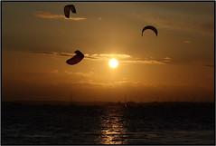 Sandbanks Kite Surfing Sunset (icu202 Photo's) Tags: sunset kite surfing sandbanks
