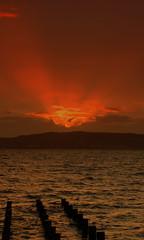 Moray Firth sunset over Black Isle I (sandyseek) Tags: sunset red sunlight water clouds evening blackisle morayfirth ardersier