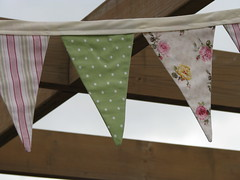 Fabric bunting (Heart felt) Tags: birthday triangles flags fabric bunting