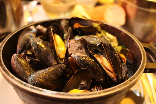 Mussels in Chez Leon restaurant