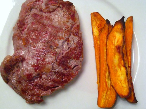 Ribeye Steak with Sweet Potato Wedges