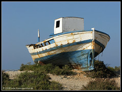 Abandoned in Tabarca (t.klick) Tags: blue sea art abandoned beach boat spain sand meer ship alicante shipwreck wreck spanien santapola wrack tabarca fisherboat fischerboot gestrandet canonpowershotg9