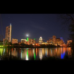 Downtown Austin Skyline | HDR (Adrian World) Tags: city blue usa moon lake color colour colors skyline night america skyscraper photoshop austin nikon colorful downtown texas colours nightscape panoramic fullmoon midnight colourful hdr hdri frostbank tallbuilding lakeaustin southaustin frosttower d300 nikond300