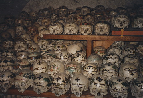 Skulls in the Bone House at St. Michael Chapel Hallstatt Austria