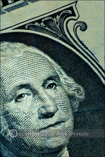 Closeup of a one dollar bill