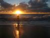 Morning swimmer (Brigitte Marlot) Tags: ocean shadow sea summer sun man beach sunrise sydney swimmer coogee clous austraia