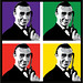 Collage of Sean Connery as James Bond.
