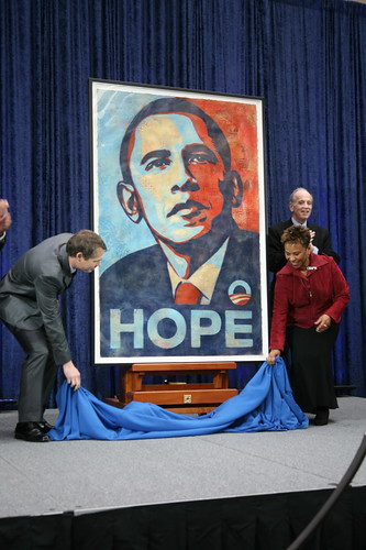 Fairey (left) at the unveiling of his HOPE image at the National Portrait Gallery in Washington. (Creative Commons/cliff1066s Flickr Photostream)