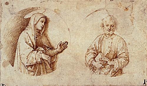 1502  Raphael    Roundels of The Virgin Mary and Saint Peter  Pen and Brown Ink over stylus underdrawning  10,.x17,2 cm  Berli, Kupferstichkabinett, Staatliche Museen