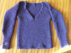 Sarah's purple sweater
