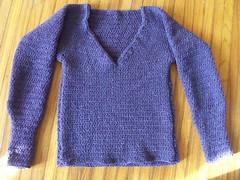 Sarah's purple sweater