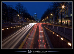 Crazy Traffic @ Brussels, Belgium :: Long Exposure (260s) (Erroba) Tags: longexposure brussels night photoshop canon rebel traffic belgium belgique tripod belgi bruxelles sigma filter pollution tips remote 1020mm erlend brussel trafficjam climatechange globalwarming nighshot cs3 masshysteria xti 400d nd106 260seconds erroba robaye erlendrobaye globalstupidity carisking