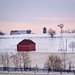 little red barn in winter