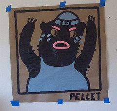 Everybody's Happy Nowadays (Kyle Pellet / Pellet Factory) Tags: california art painting paper happy sanjose butcher nowadays everybodys pellet pelletfactory kylepellet