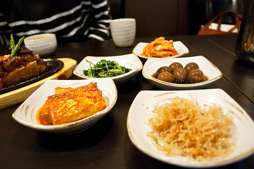 half the banchan spread