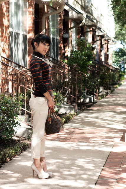 forever 21 belted twill pants marco santi dash nude pumps express brown striped turtleneck louis vuitton speedy 25 mk 5430 little fluff stuff flower bib necklace