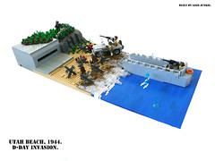 D-Day, June 6th, 1944. Storming Utah Beach. (Lego Junkie.) Tags: never beach death boat utah blood lego jeep wwii battle soldiers killed ba higgins normandy dday willys prototypes rests brickarms foitsop