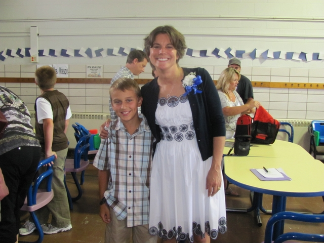 Blake and one of his teachers