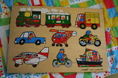 Vintage Simplex Transportation Puzzle (honor) Tags: baby eye classic car bike bicycle train truck plane vintage children toy boat wooden kid toddler hand fine skills puzzle helicopter transportation motorcycle motor preschool coordination simplex etsyveg