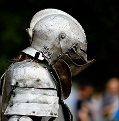 Knight At The Fights (James D. Collins) Tags: rain festival silver rivets tampabay florida profile helmet fair armor knight joust armour reenactor helm battledamage platearmour bayarearenaissancefestival dentedarmor dentedarmour