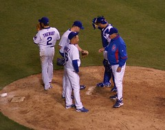 Meeting at the mound (Francesca (@WorkMomTravels)) Tags: baseball wrigleyfield chicagocubs loupiniella aramisramirez kerrywood geovanysoto ryantheriot