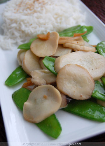 King Oyster Mushrooms with Snow Peas